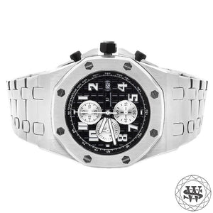 World Shine Watch White Gold Premium Solid White Gold Finish Black Dial Chronograph Watch 43mm