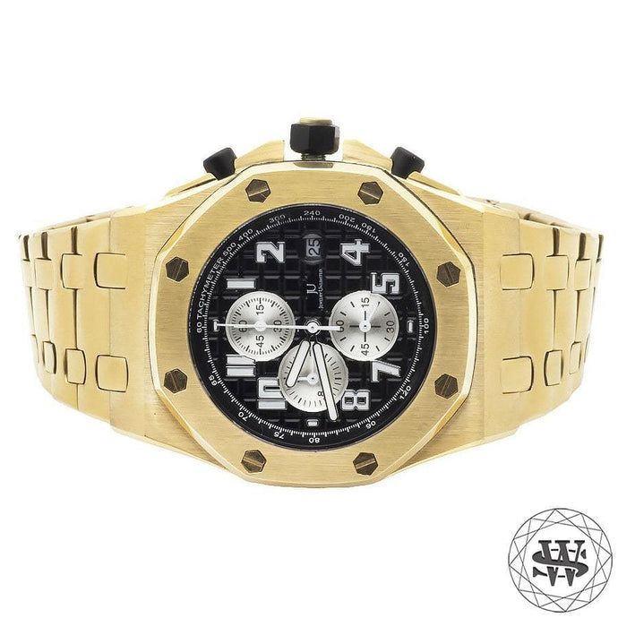 World Shine Watch Yellow Gold Premium Solid Yellow Gold Finish Black Dial Chronograph Watch 43mm
