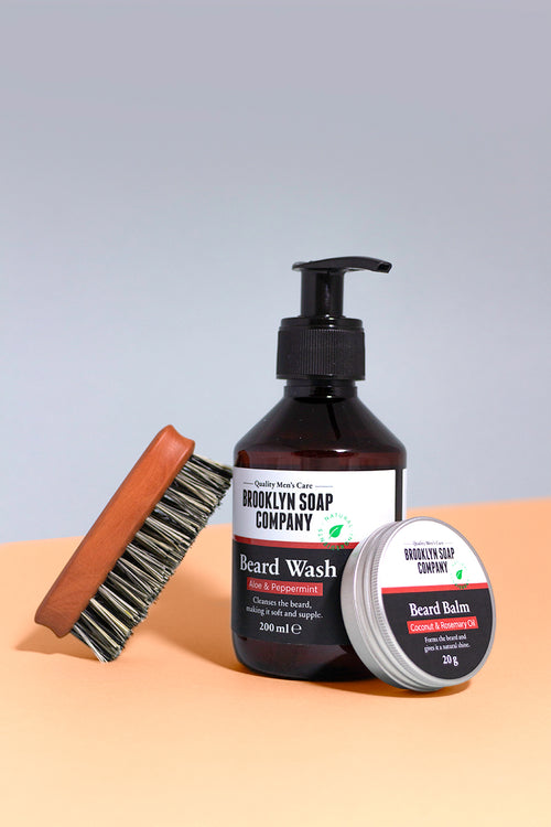 Kit perfect beard brosse a barbe vegan shampoing a barbe baume a barbe Brooklyn soap company
