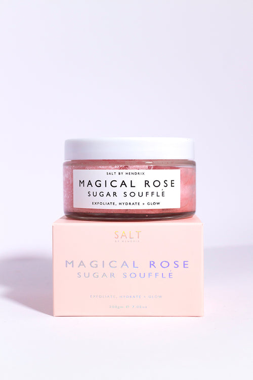 Magical rose exfoliant corporel Salt by Hendrix contenant en verre gommage rose