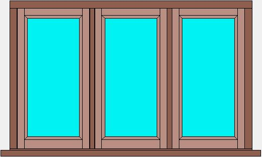 Traditional Flush Window Triple Casement