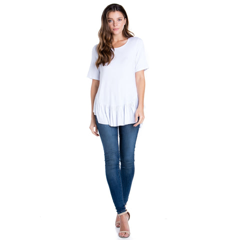 Basic Peplum Top - White
