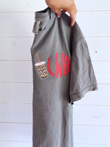Iced Coffee Monogram Tee -- Dunkin Lovers, Starbucks Lovers, Embroidered