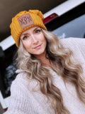 Leather Patch Monogram Beanie