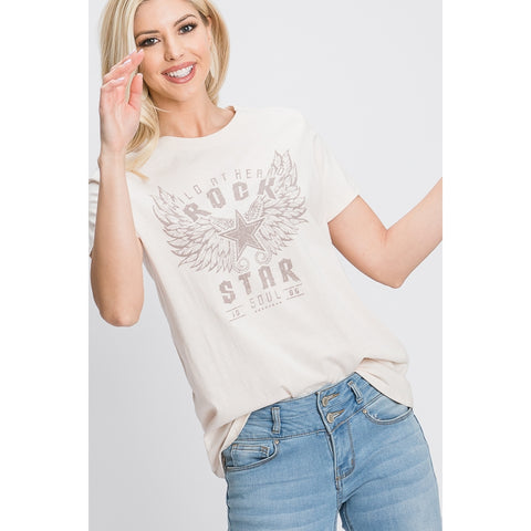 Rock Star Graphic Tee - Natural