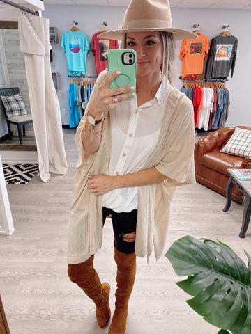 Slouchy Cardigan Sweater - Natural