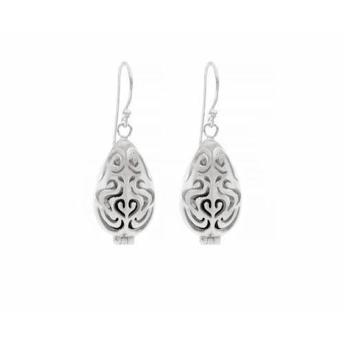 Aromatherapy Diffuser Locket Earrings, White Rhodium-Seven Saints-HOUSE of BOTTA