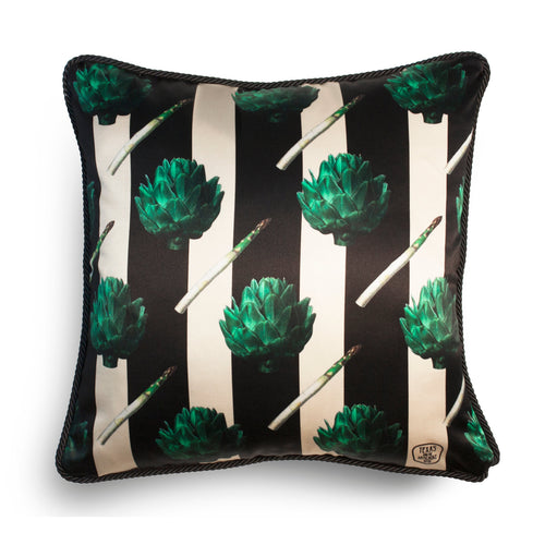 Artichoke Silk And Velvet Cushion-Homeware-HOUSE of BOTTA
