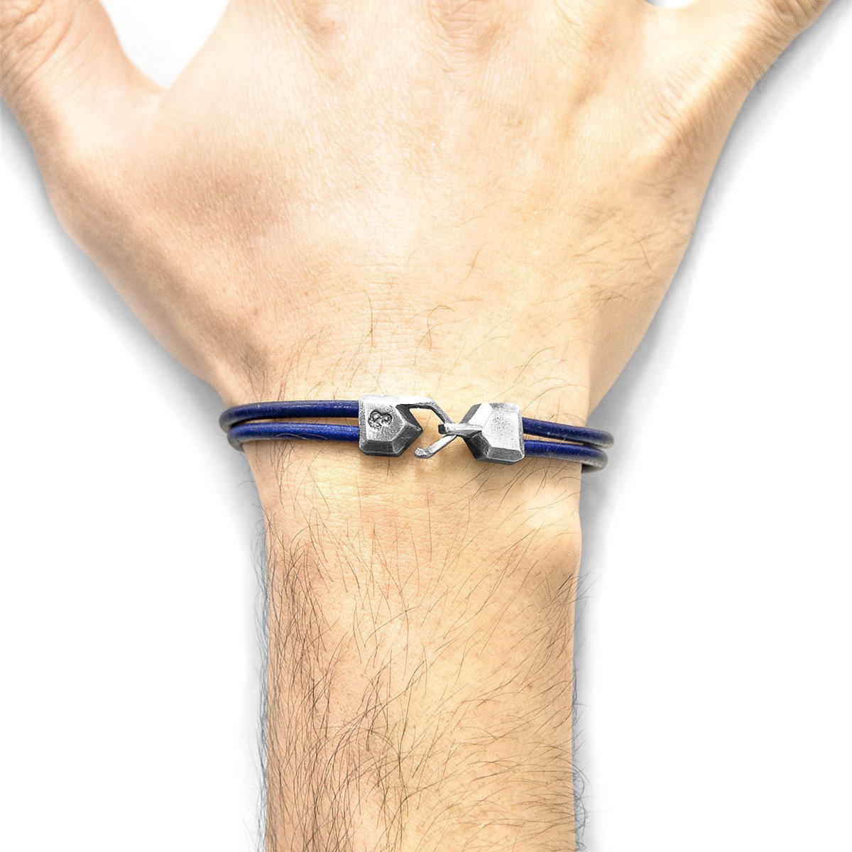 Azure Blue Cromer Silver And Round Leather Bracelet-Men-HOUSE of BOTTA