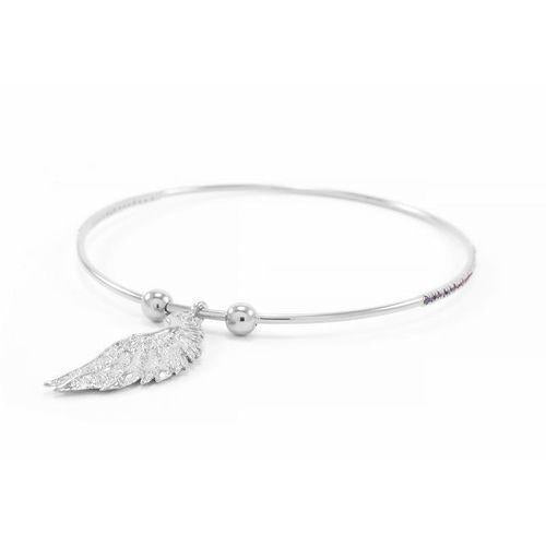 Bangle Archangel Gabriel Angel Of Mercy, White Rhodium With White Topaz-Seven Saints-HOUSE of BOTTA