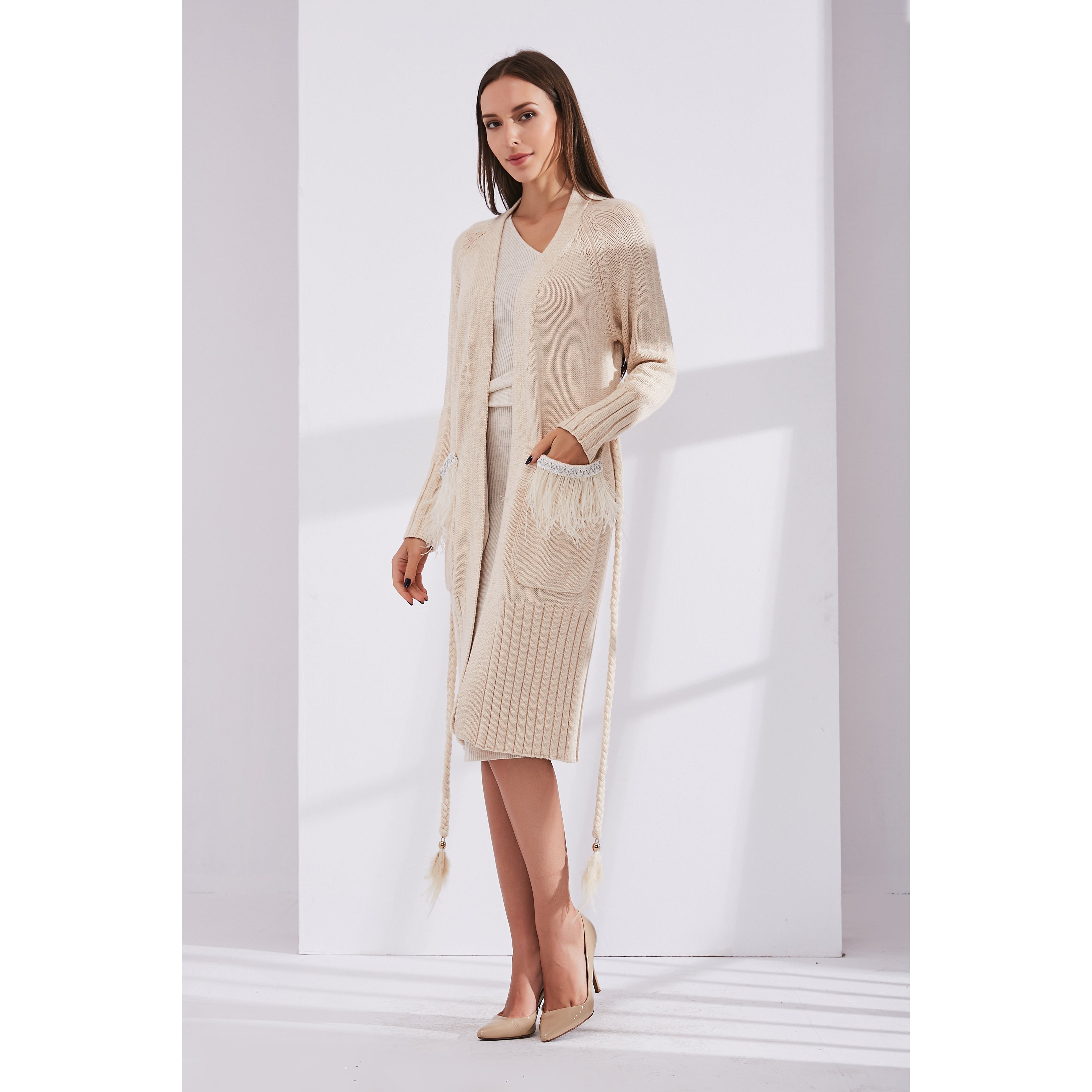 Beige Cardigan Decorated with Feathers and Belt-INA VOKICH-HOUSE of BOTTA