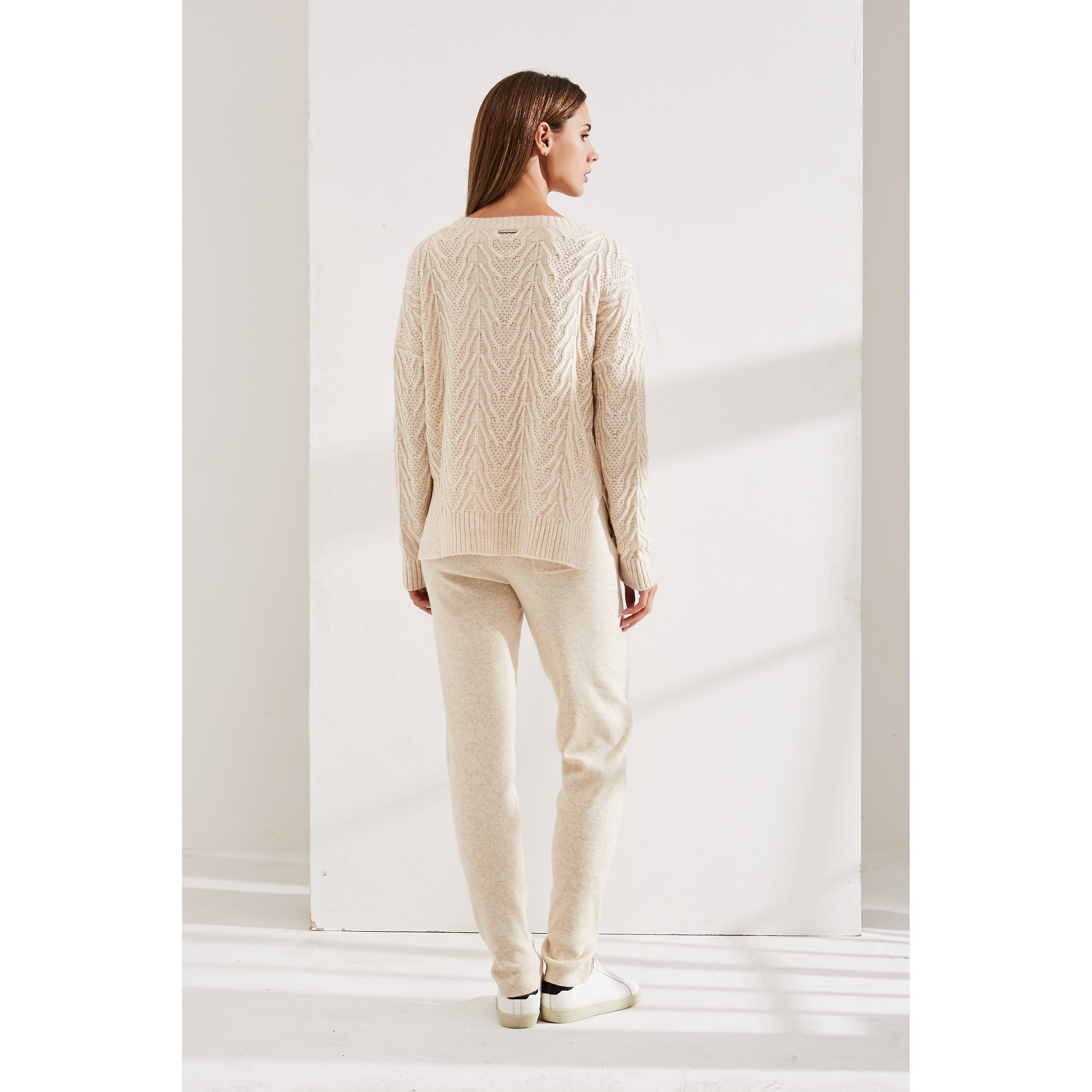 Beige Cashmere and Cotton Suit with Delicate Decor-INA VOKICH-HOUSE of BOTTA