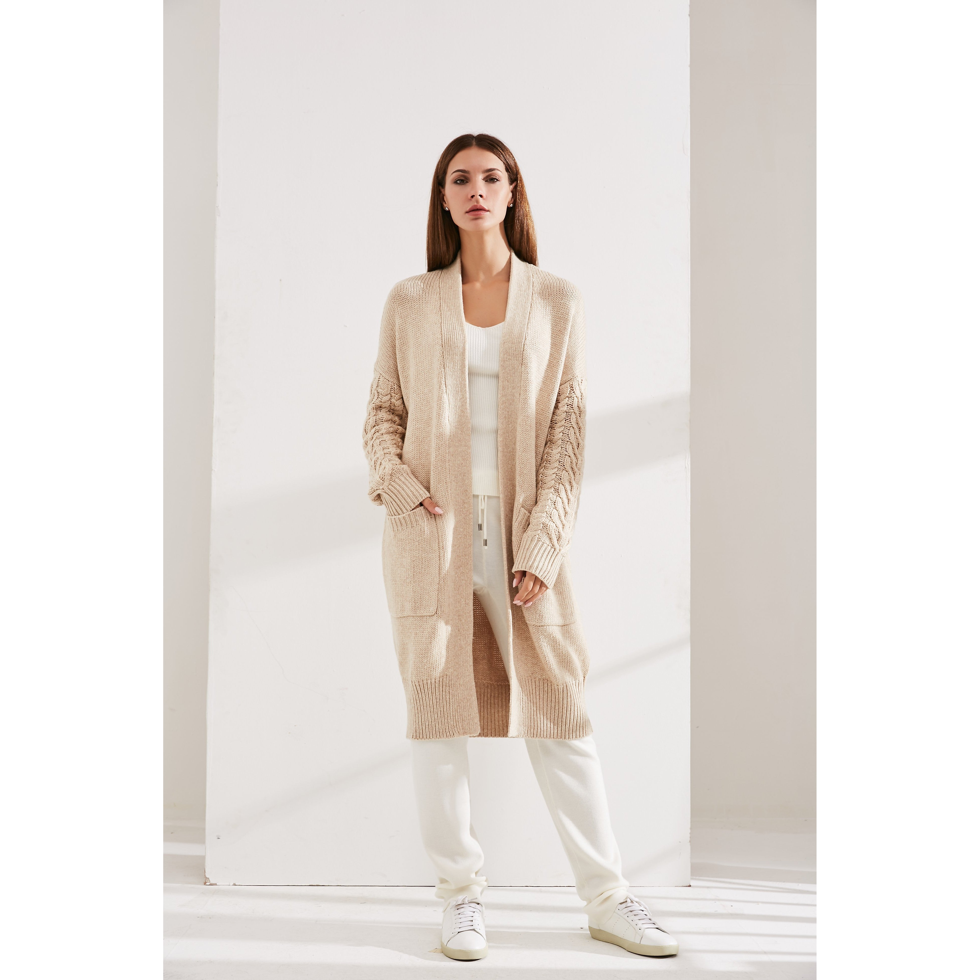 Beige Cashmere Cardigan With Knitted Sleeves-INA VOKICH-HOUSE of BOTTA