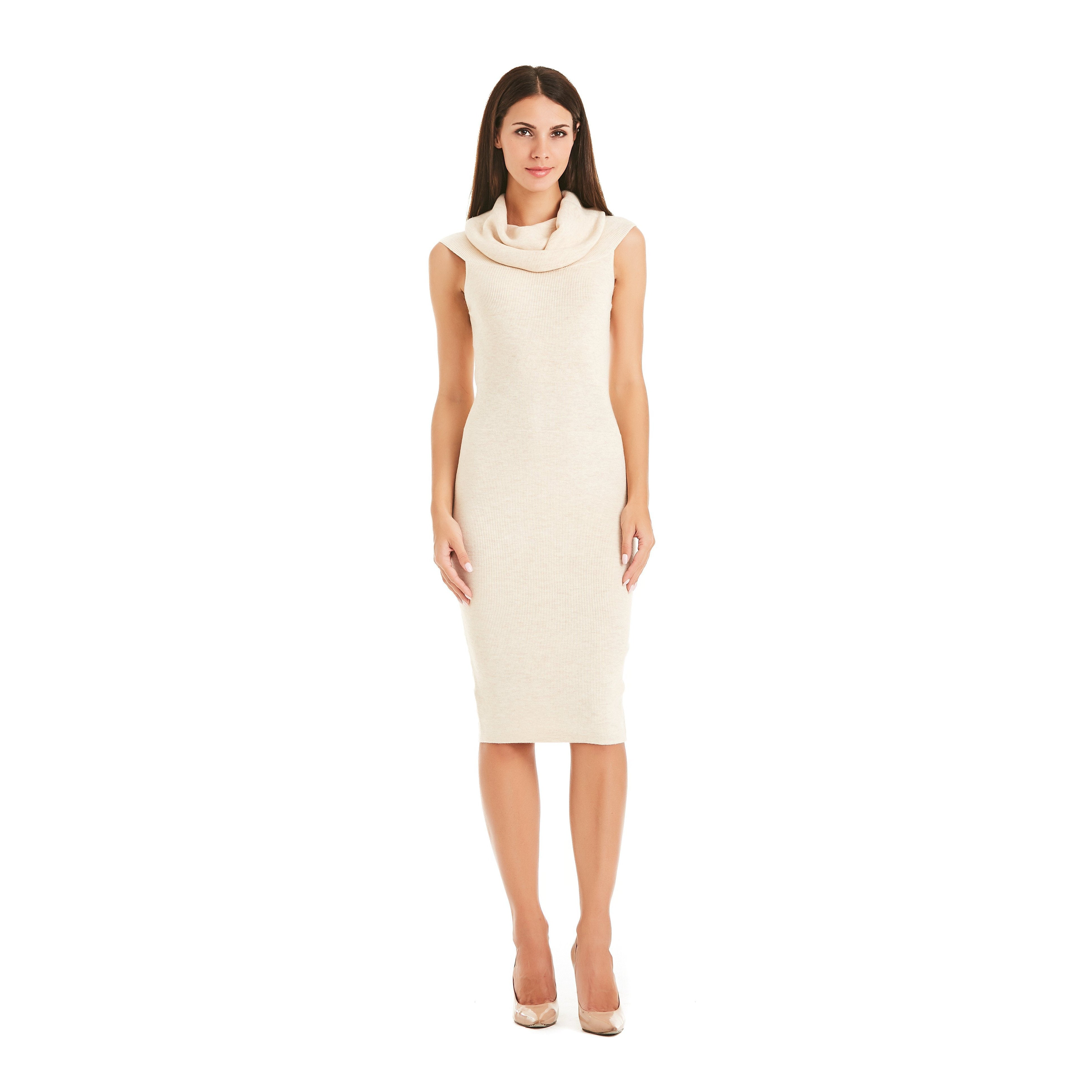 Beige Frill Dress With Bardot Neckline-INA VOKICH-HOUSE of BOTTA