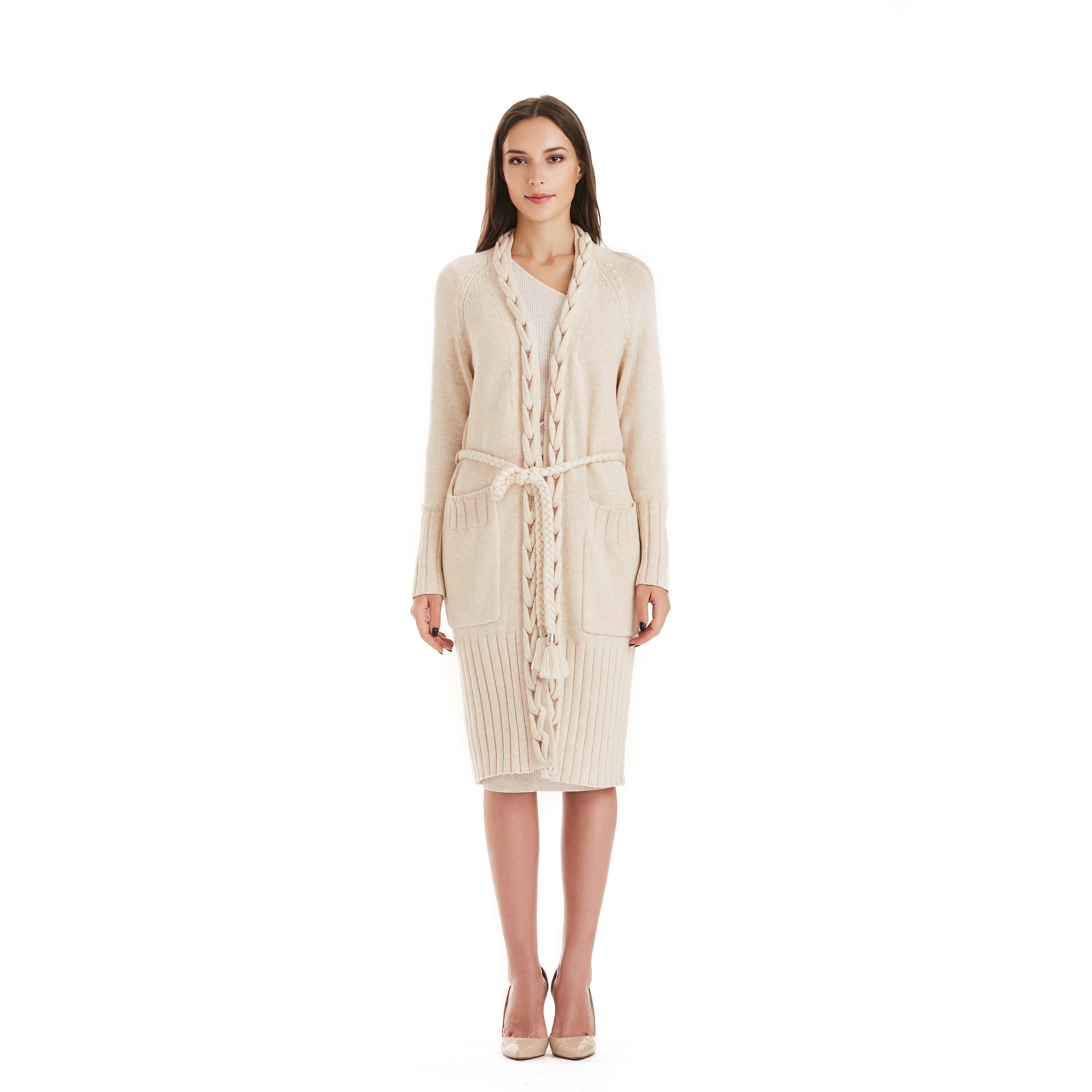 Beige Сable Kniited Cardigan With Belt-INA VOKICH-HOUSE of BOTTA