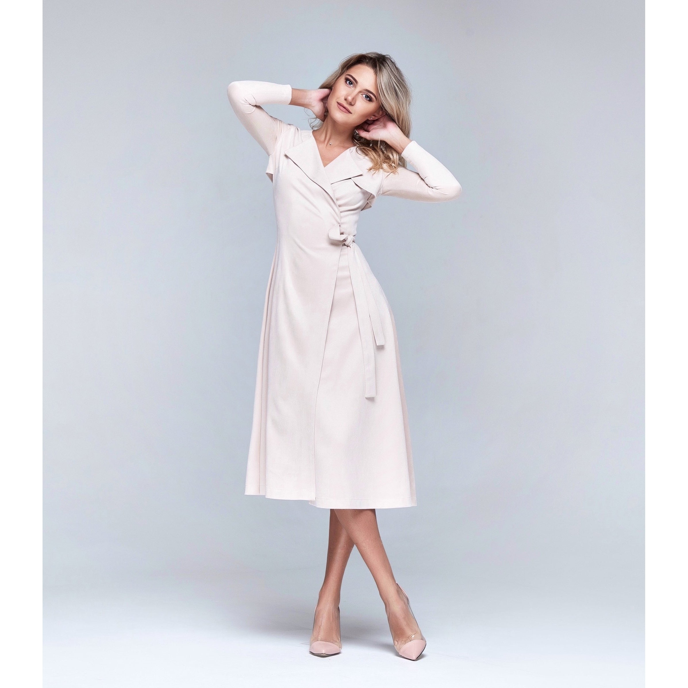 Beige Wrap Dress-CAIVER-HOUSE of BOTTA