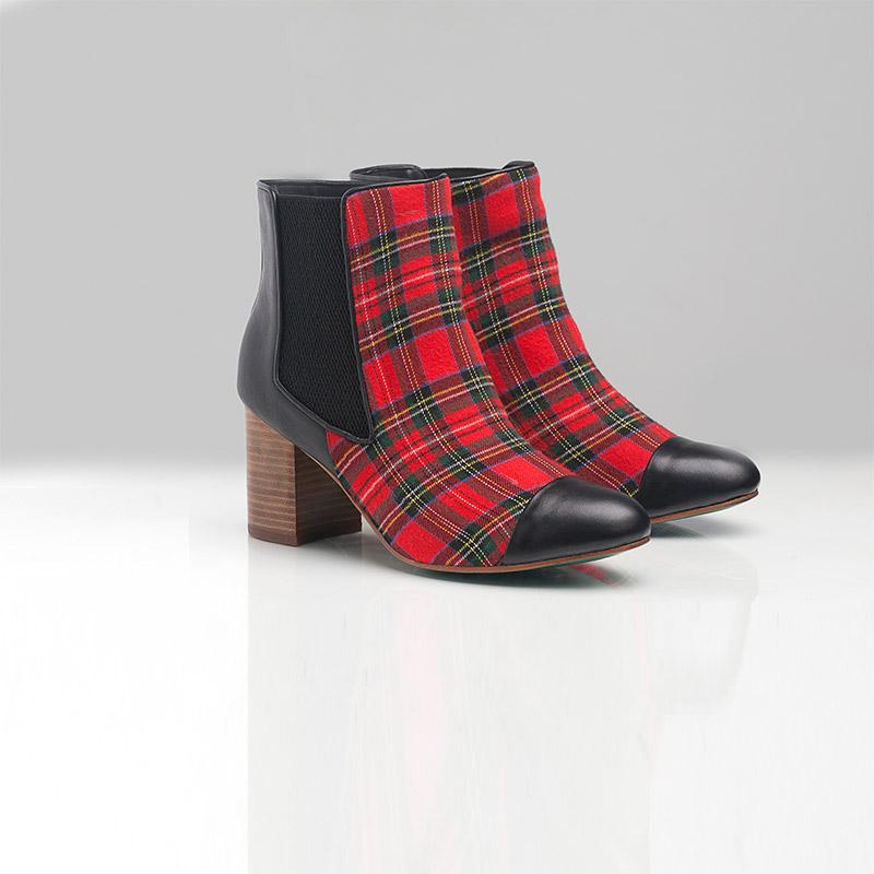BELLA CHELSEA BOOT (TARTAN) - Wide Fit-ARABEL MANNERS-HOUSE of BOTTA