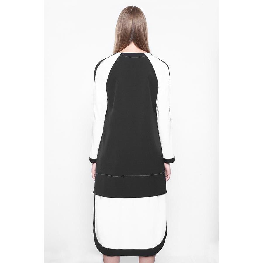 Bilateral Black Dress With White Sleeves-KOSTELNI-HOUSE of BOTTA