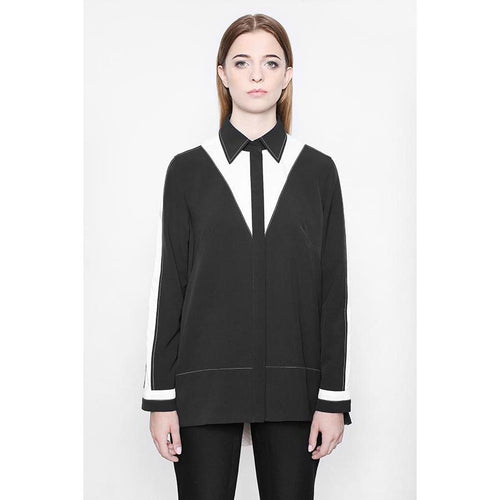 Bilateral Black V-Shape Blouse-KOSTELNI-HOUSE of BOTTA