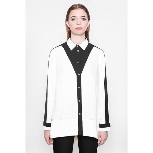 Bilateral White V-Shape Blouse-KOSTELNI-HOUSE of BOTTA