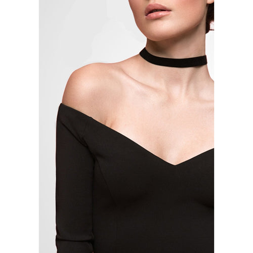 Black Bodysuit With Long Sleeves-OVER THE SEA-HOUSE of BOTTA