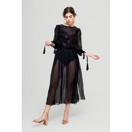 Black Chiffon Dress 'How I Found You'-OVER THE SEA-HOUSE of BOTTA