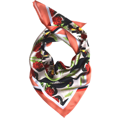 Black Cockatoos Coral Silk Scarf-Texas and the Artichoke-HOUSE of BOTTA