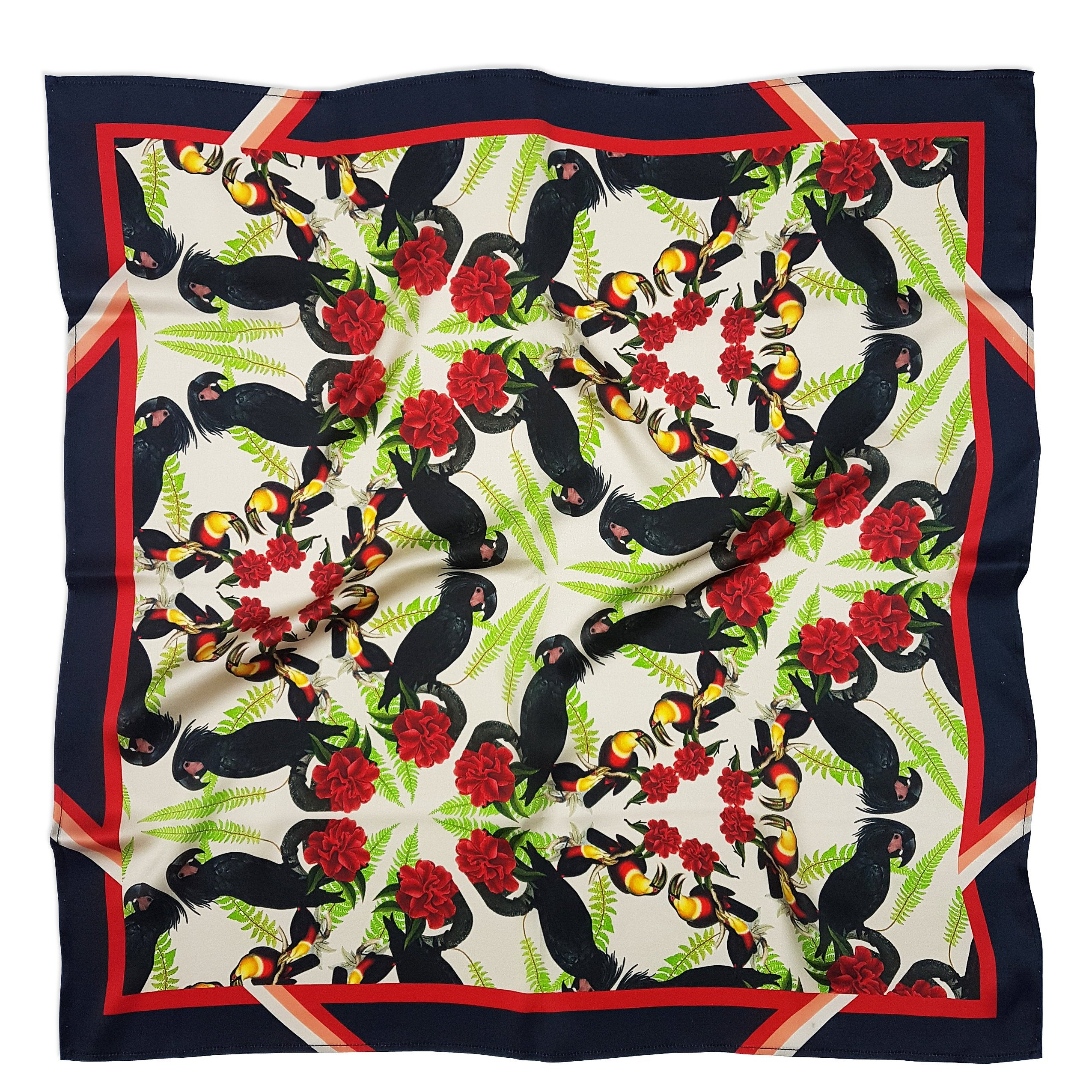 Black Cockatoos Silk Scarf-Texas and the Artichoke-HOUSE of BOTTA