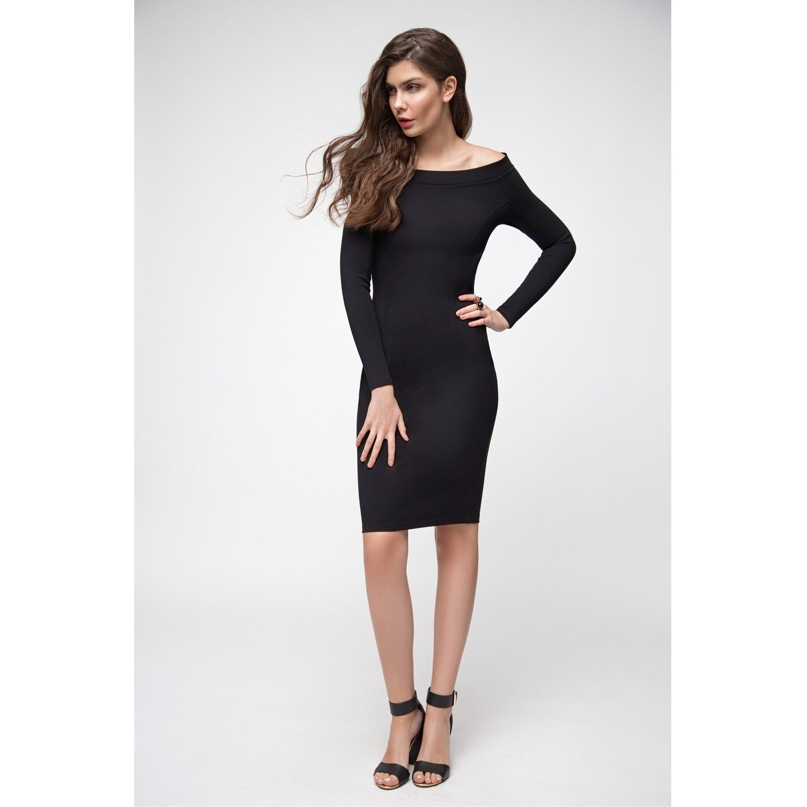 Black Cold Shoulders Bodycon Dress The Way I Feel-OVER THE SEA-HOUSE of BOTTA