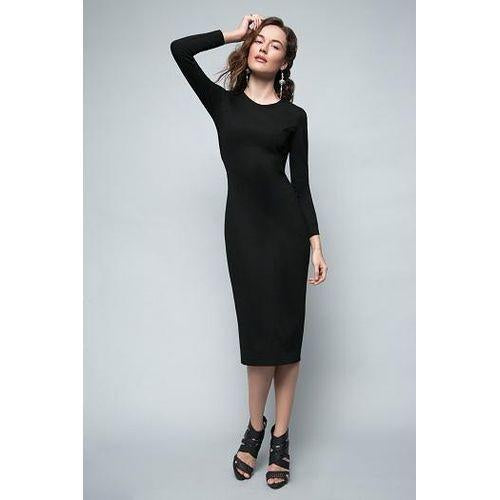 Black Midi Bodycon Dress 'The Way I Feel Right Now'-OVER THE SEA-HOUSE of BOTTA
