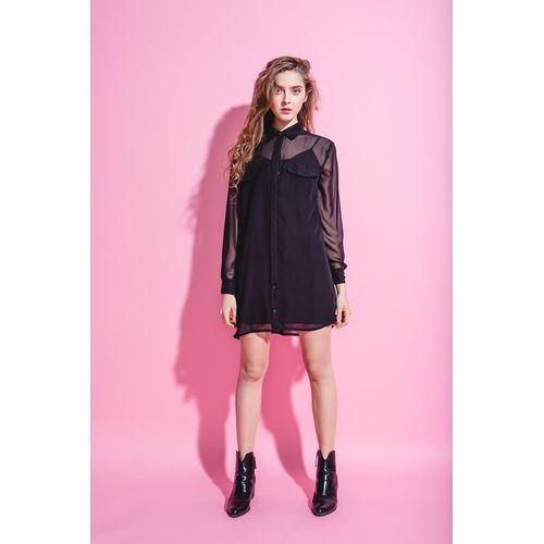 Black Shirt Chiffon Dress 'Cloud Number Nine'-OVER THE SEA-HOUSE of BOTTA