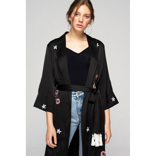 Black Silky Kimono With Embroidery 'We Just Be'-OVER THE SEA-HOUSE of BOTTA