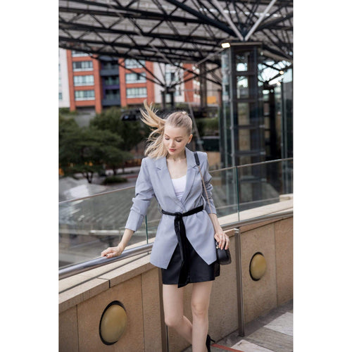 Blazer with Sash in Charcoal-Charlotte London-HOUSE of BOTTA