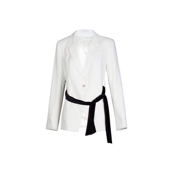 Blazer with Sash in Clean White-Charlotte London-HOUSE of BOTTA