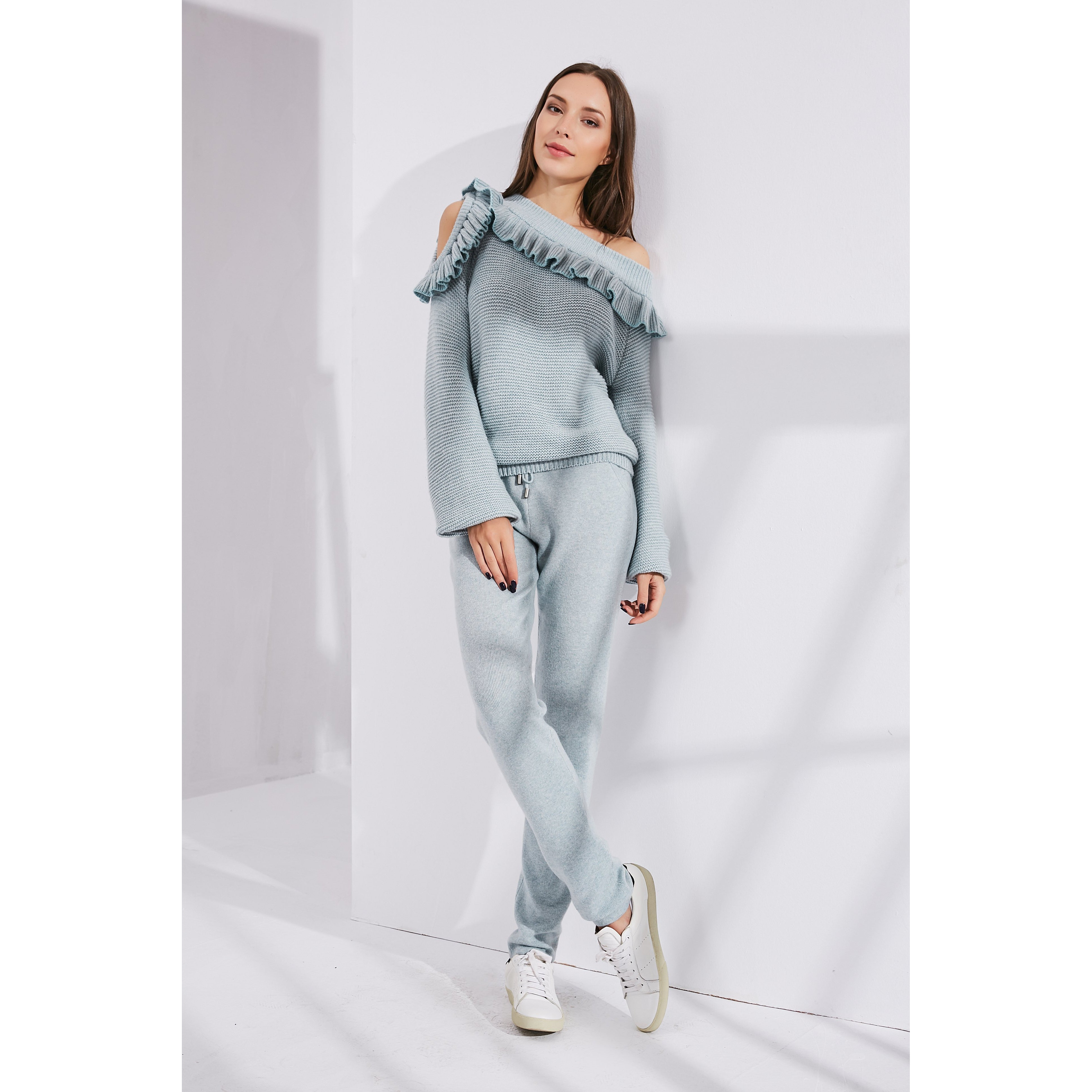 Blue Asymmetric Suit With Frills-INA VOKICH-HOUSE of BOTTA