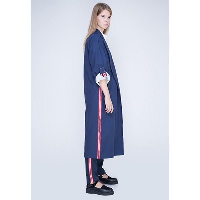 Blue Cotton Trench With Red And White Stripe-INSIDEU-HOUSE of BOTTA
