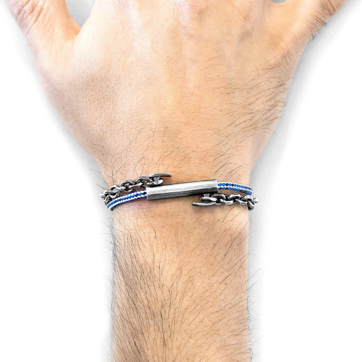 Blue Dash Belfast Silver And Rope Bracelet-Men-HOUSE of BOTTA