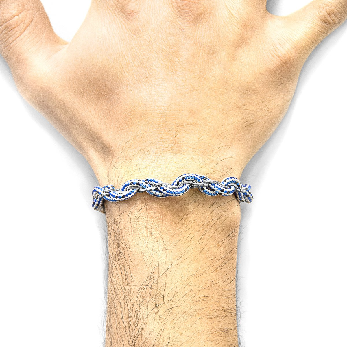 Blue Dash Lagan Silver And Rope Bangle-Men-HOUSE of BOTTA