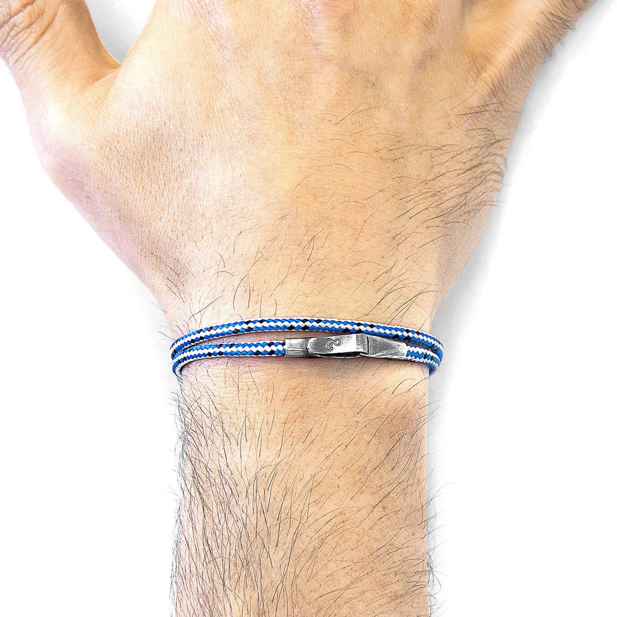 Blue Dash Liverpool Silver And Rope Bracelet-Men-HOUSE of BOTTA