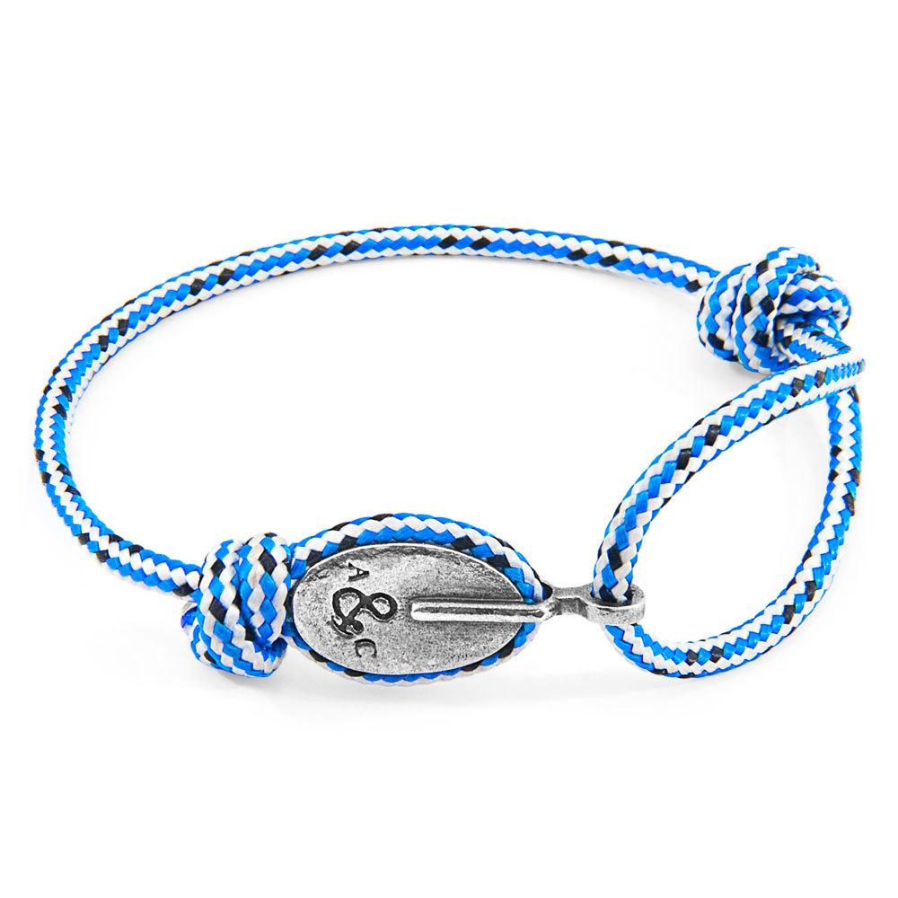 Blue Dash London Silver And Rope Bracelet-Men-HOUSE of BOTTA