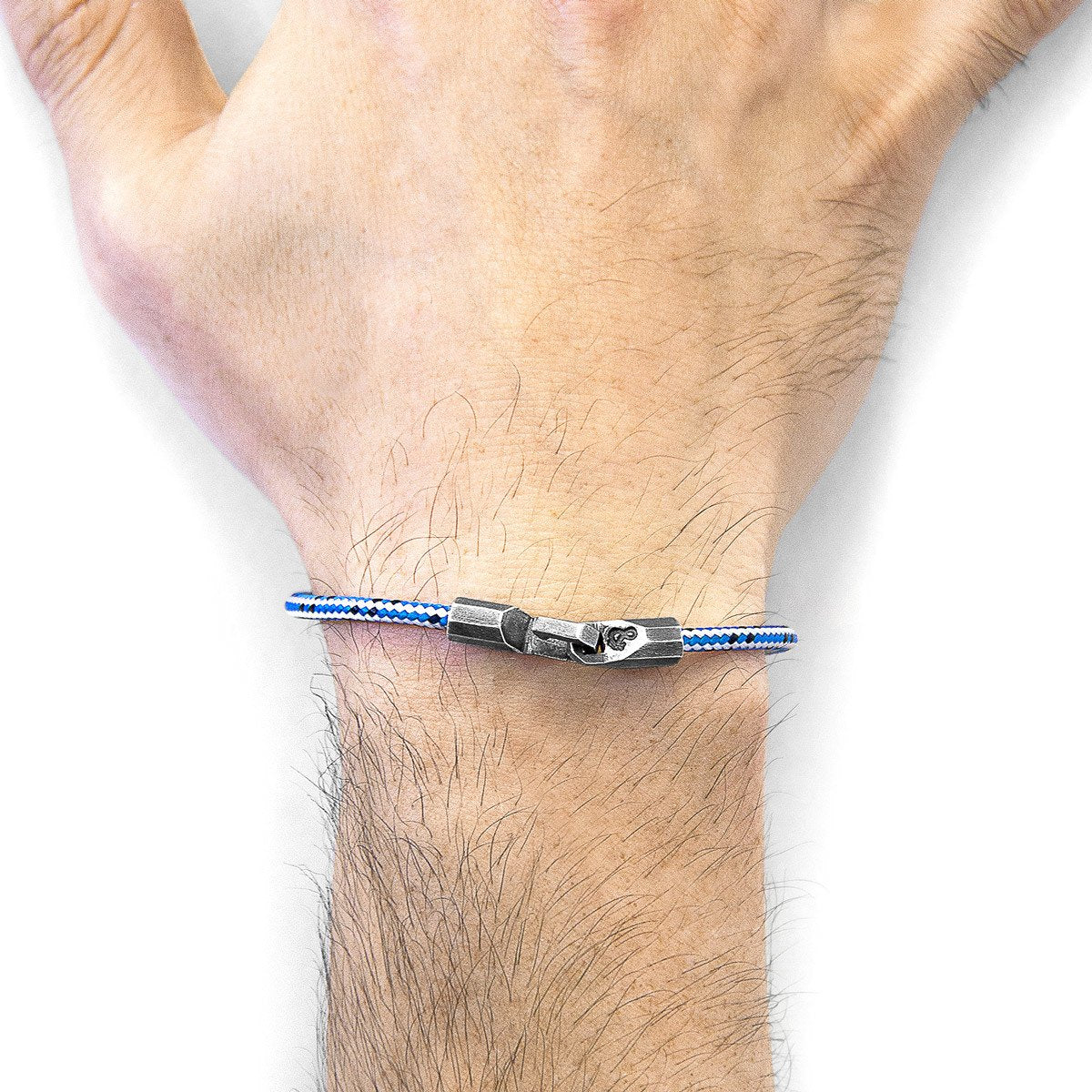 Blue Dash Talbot Silver And Rope Bracelet-Men-HOUSE of BOTTA