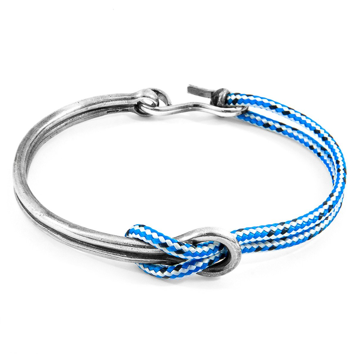 Blue Dash Tay Silver And Rope Half Bangle-Men-HOUSE of BOTTA