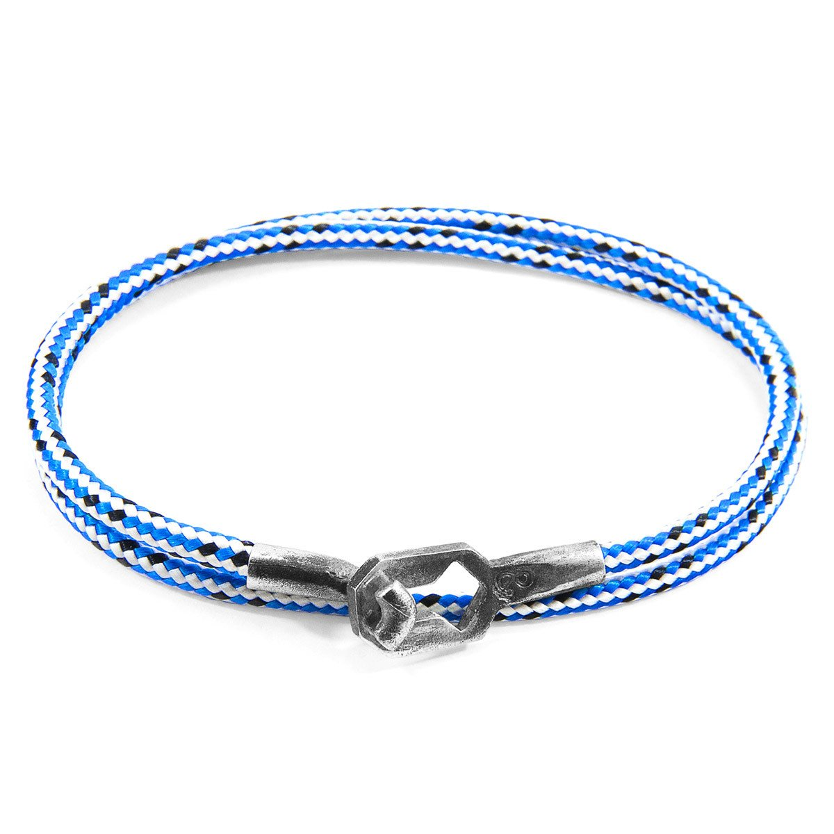 Blue Dash Tenby Silver And Rope Bracelet-Men-HOUSE of BOTTA