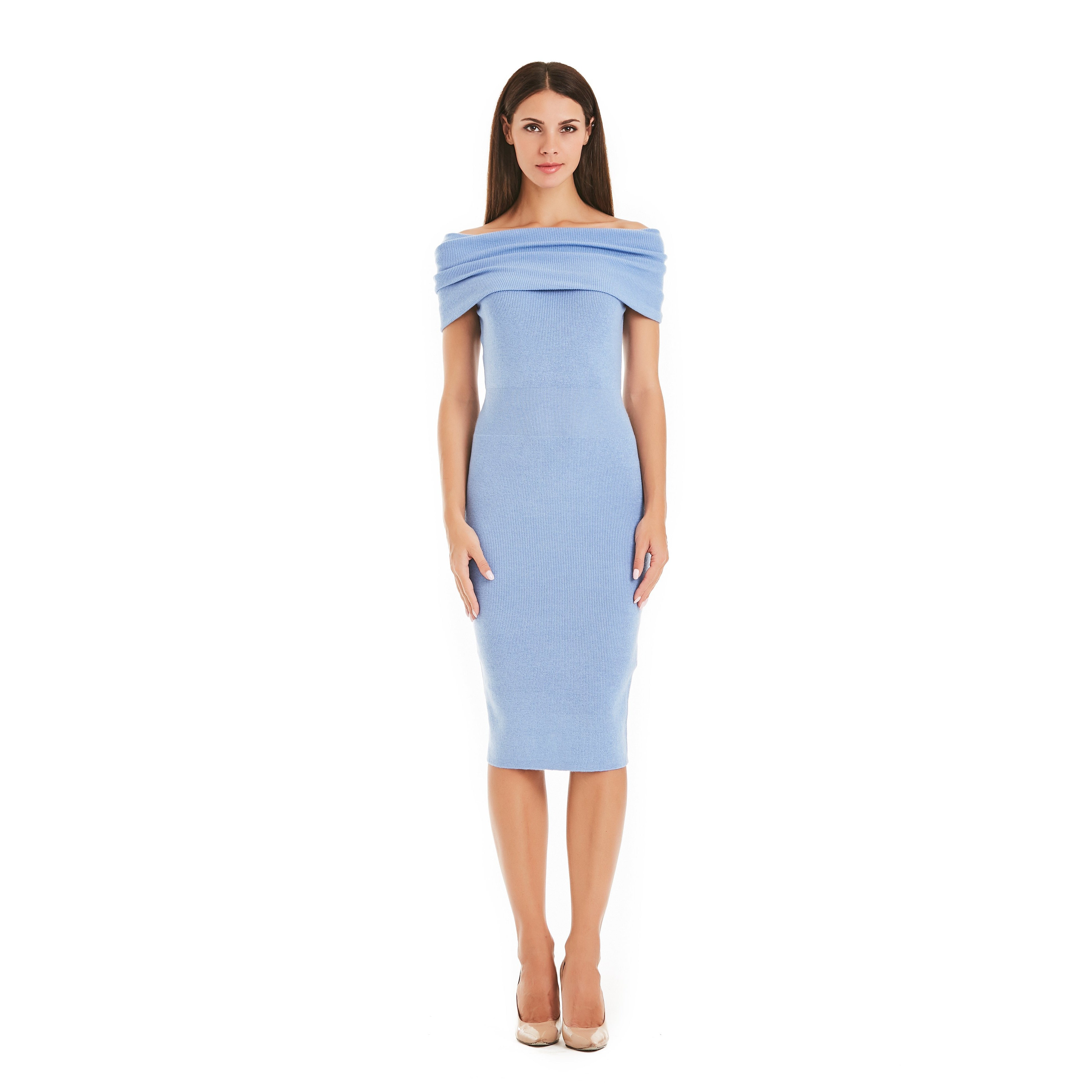 Blue Frill Dress With Bardot Neck-INA VOKICH-HOUSE of BOTTA