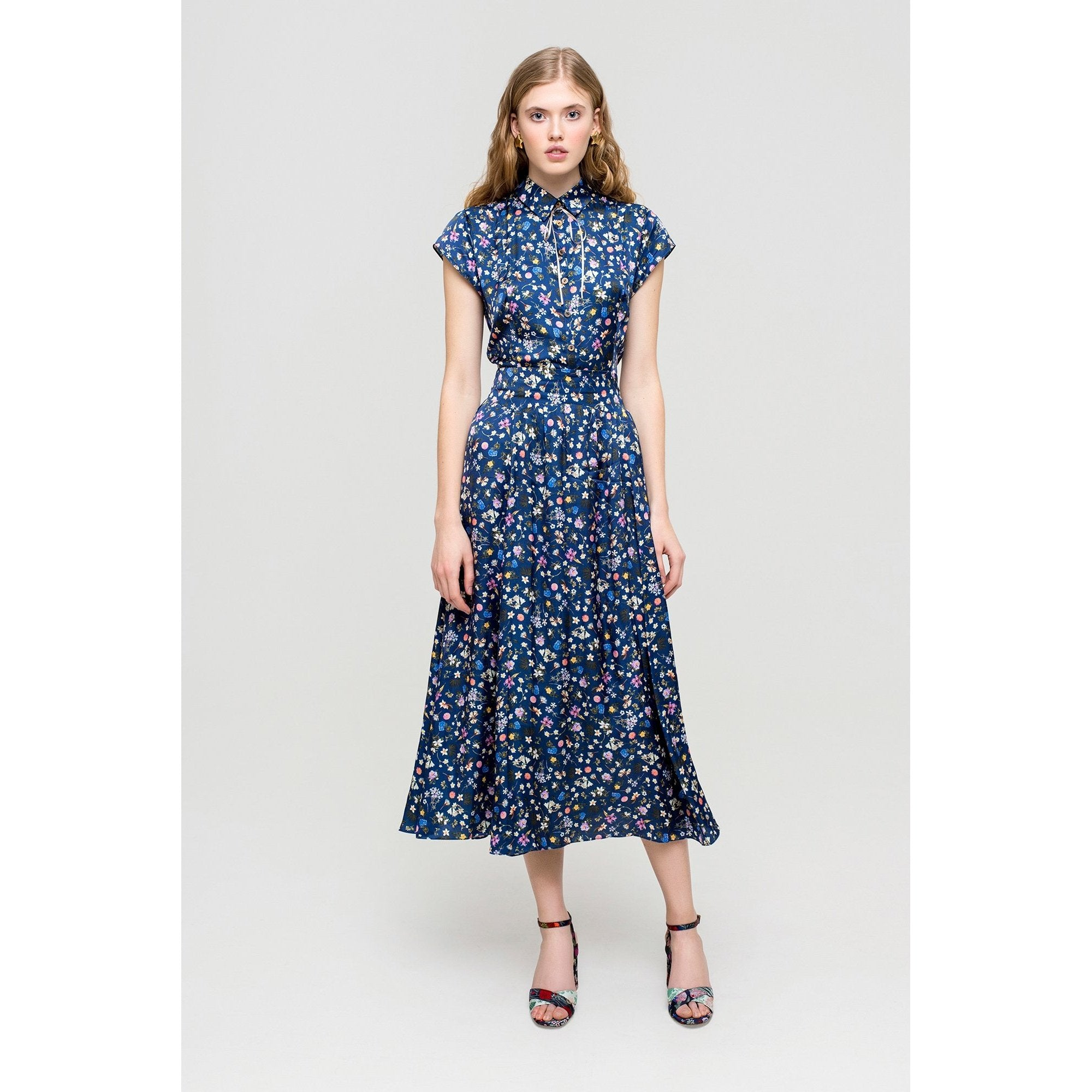 'Blue Layla' 40's Style Dress With Floral Pattern-OVER THE SEA-HOUSE of BOTTA