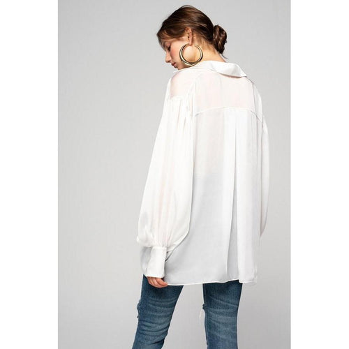Boho Loose Silky Shirt Free Spirit-OVER THE SEA-HOUSE of BOTTA