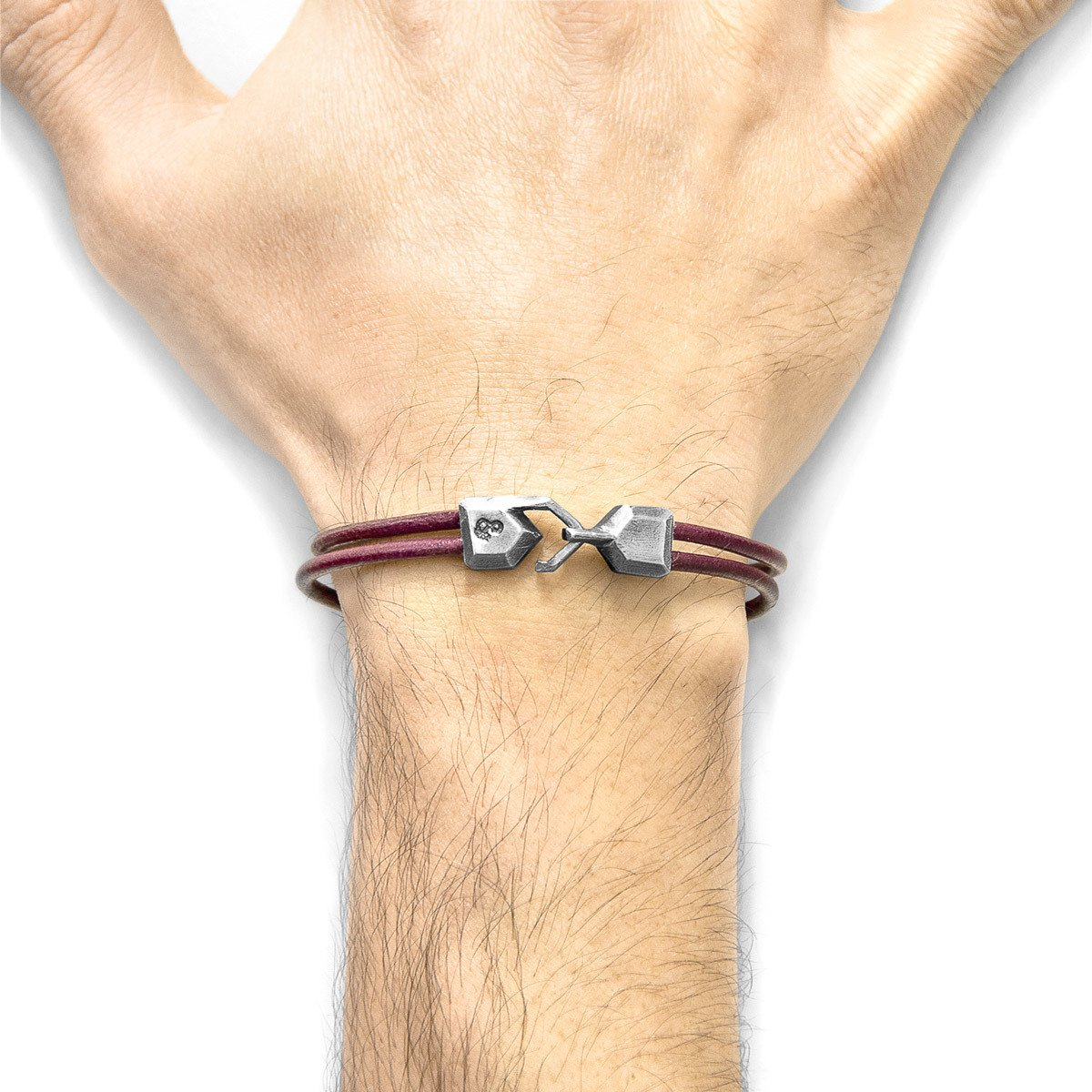 Bordeaux Red Cromer Silver And Round Leather Bracelet-Men-HOUSE of BOTTA