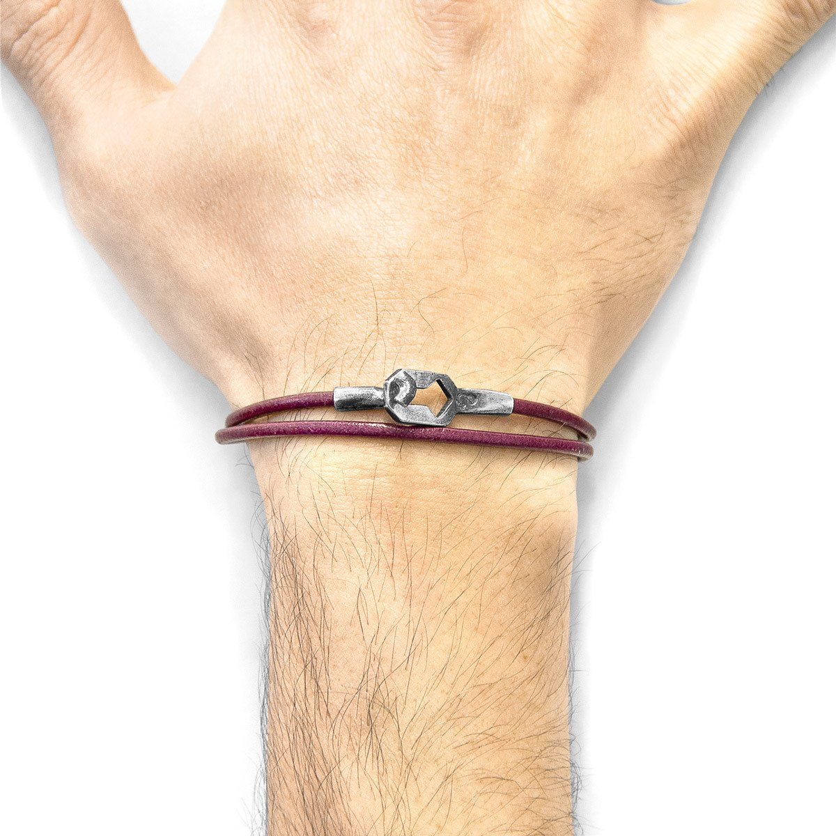 Bordeaux Red Tenby Silver And Round Leather Bracelet-Men-HOUSE of BOTTA