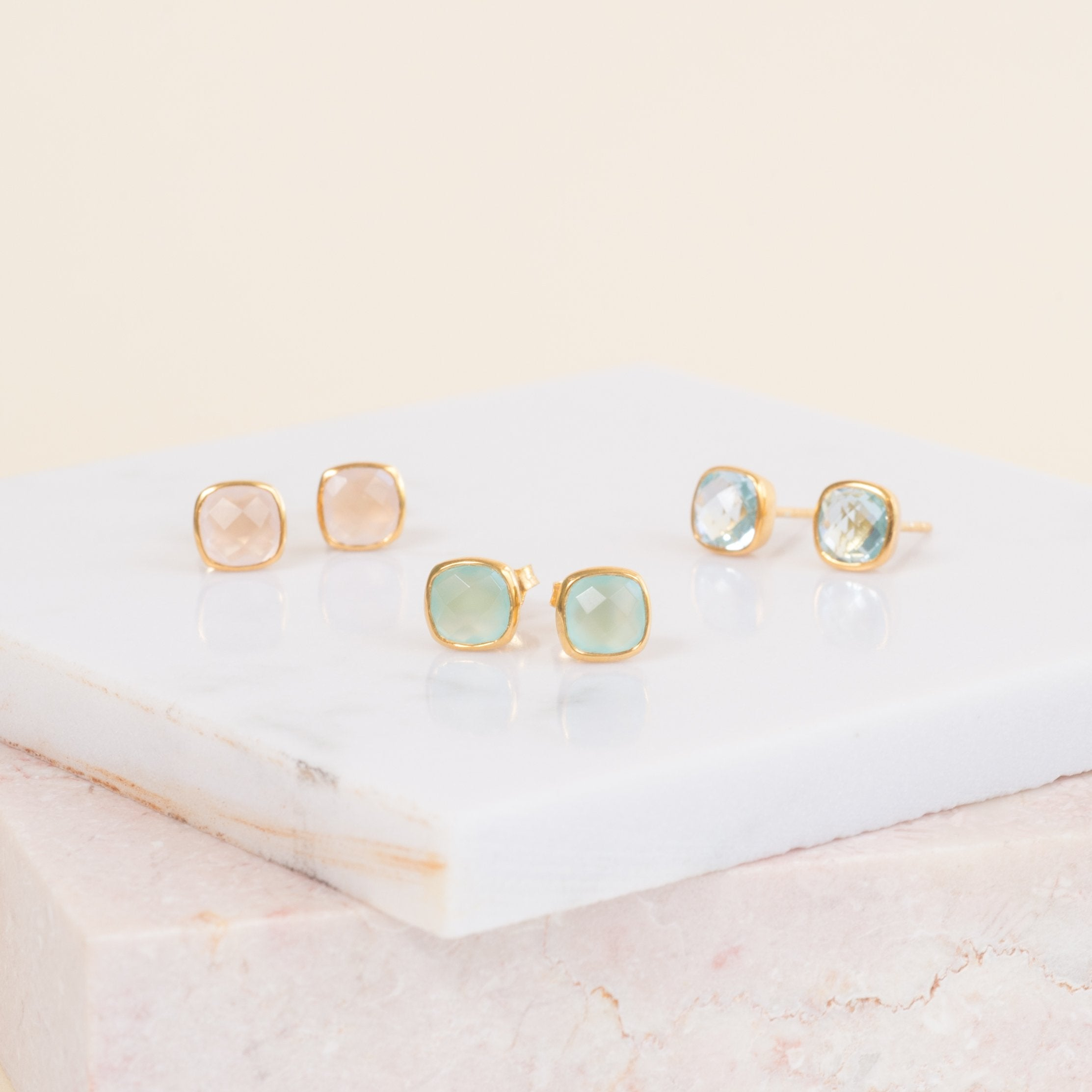 Brooklyn Gold & Blue Topaz Cushion Stud Earrings-AUREE JEWELLERY-HOUSE of BOTTA