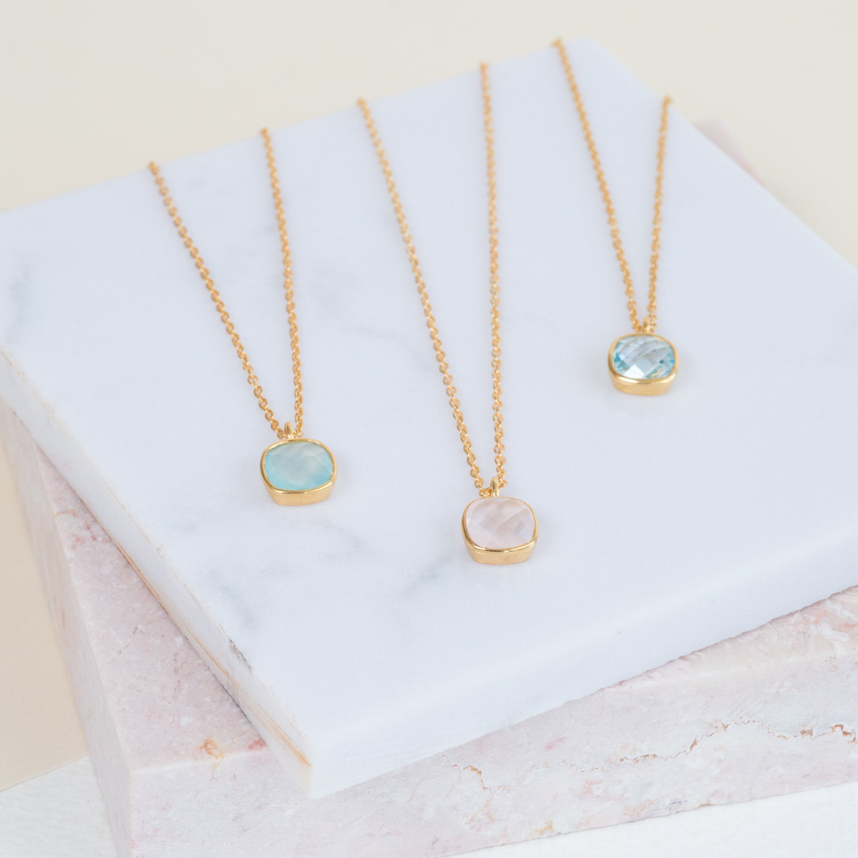 Brooklyn Gold Vermeil & Rose Quartz Necklace-AUREE JEWELLERY-HOUSE of BOTTA